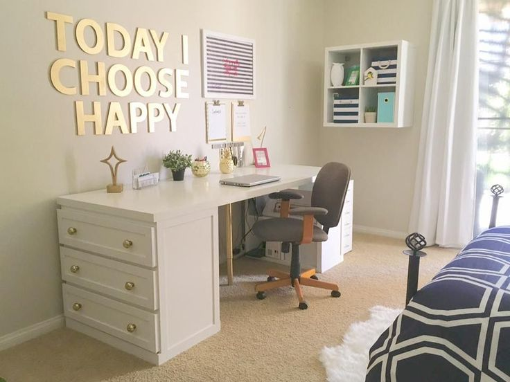 Shelly puts together a glam Malm desk using 1 3-drawer Malm, 1 4-cube Kallax, 1 adjustable leg.