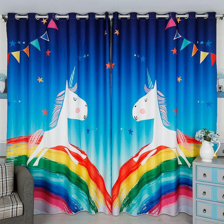3d Cartoon Rainbow Horse Blackout Curtain Custom Childrenu0027s Cartoon Curtain  Boy Curtain For Child Room Living