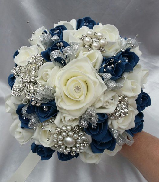 Bridal Brooch Wedding Bouquet With White Or Ivory And Teal Foam Roses Diamante Pearls