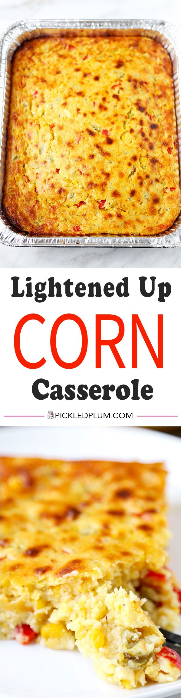 Lightened Up Corn Casserole - This Lightened Up Corn Casserole Recipe has the spirit of cornbread with the soul of a creamy autumn casserole. Ready in 40 minutes from start to finish! Recipe, Thanksgiving, side, casserole, Christmas, baked | pickledplum.com