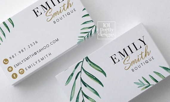 Botanical Business Card Floral Business Card Design Printable Business Card Greenery Busi Floral Business Cards Boutique Business Cards Cosmetic Business Cards