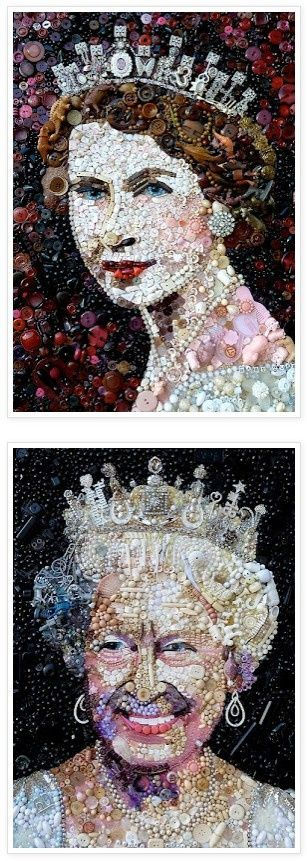 Button & Mixed Media Collage by Jane Perkins honoring Queen Elizabeth II