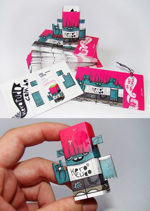 Cool Street Art Style Business Card Which Becomes A 3D Papercraft Toy