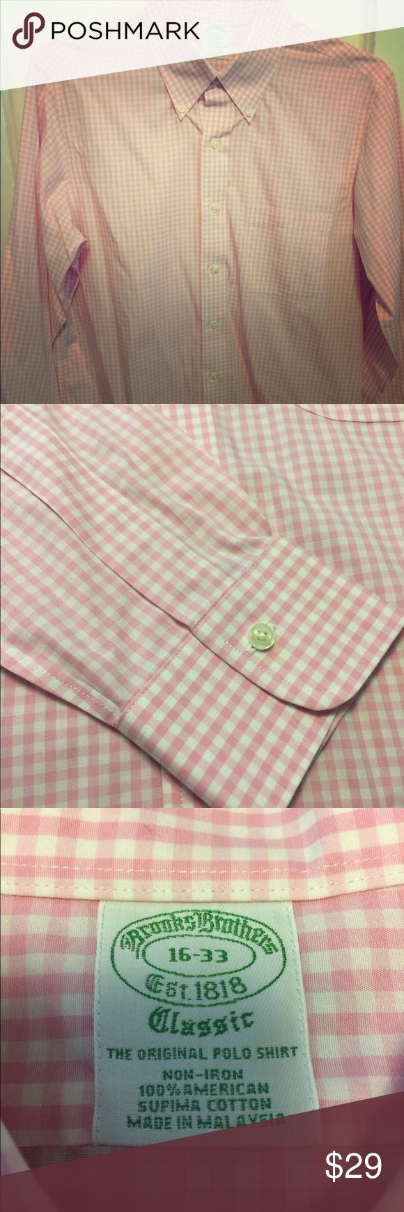Brooks Brothers Milano Fit Non-Iron Dress Shirt Brooks Brothers Milano (extra slim) Fit Non-Iron Dress Shirt 16-33 100% supima cotton, Great condition! Brooks Brothers Shirts Dress Shirts
