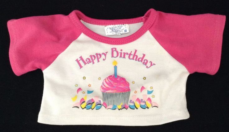 Build A Bear Pink White Happy Birthday Tee Shirt Cupcake Candle BAB FR SHP #BuildaBear #Birthday