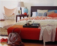 orange blue grey bedroom - Fun... I like the accent colors