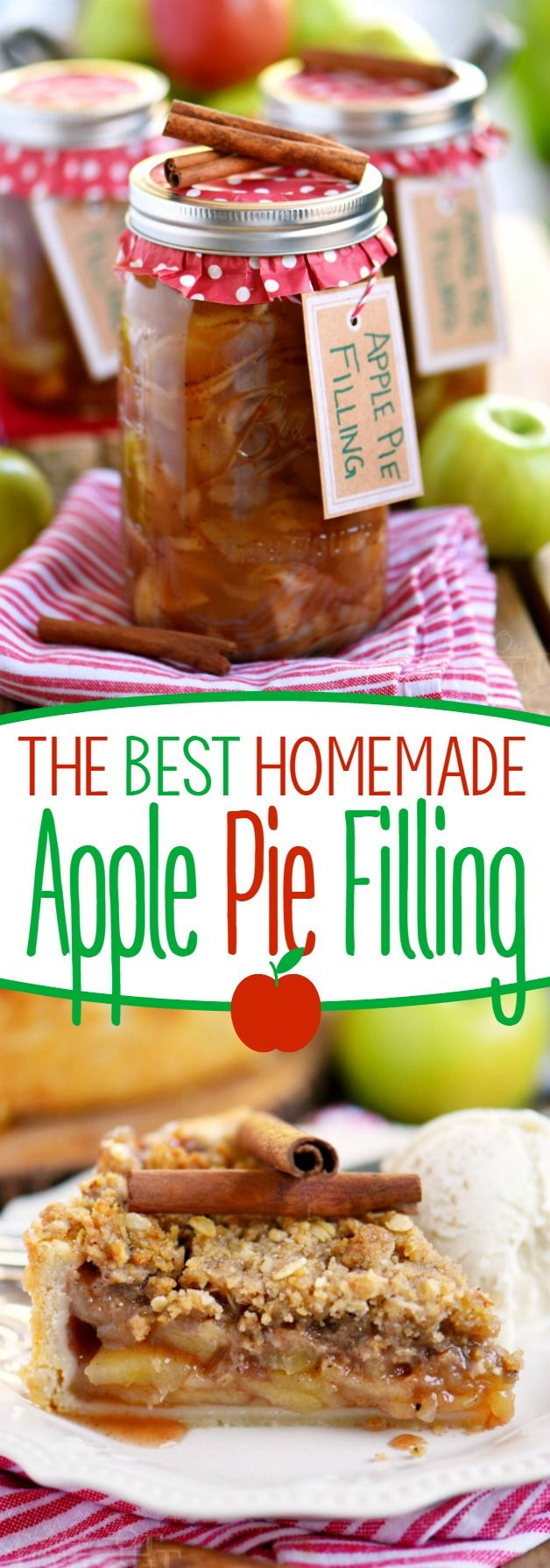 The BEST Homemade Apple Pie Filling! Perfect for pies, cobblers, strudels, and more! Keep on hand for an easy holiday season! Makes a lovely gift too!