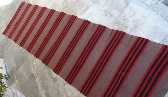 Reddish Brown, Red and Black Stripes. So sophisticated!!! Antique Anatolian Kilim Rug Runner  Striped  by VintageHomeStories,