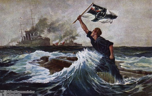 German postcard showing the 'last man' about to go down on the upturned hull of SMS Nürnberg at the Battle of the Falkland Islands 8th December 1914 http://www.britishbattles.com/battle-of-the-falkland-islands/