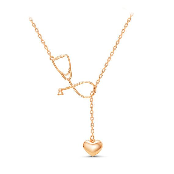 """Necklace With ❤️ and Stethoscope Pendant for Doctors and Medical Staff Please Allow 12-20 Days for Delivery. Item Type: Necklaces Length: 45cm/ 18"""" Color : Silver Plated/ Gold Plated Pendant Size: 3.5"""