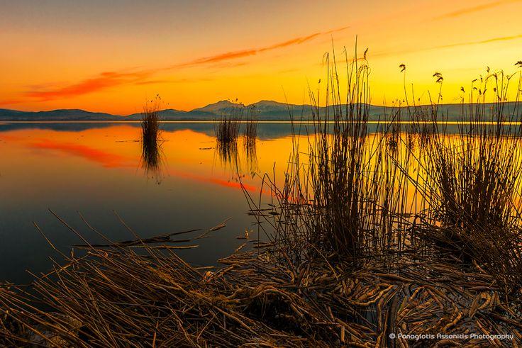 Sunset at Pamvotida Lake by Panagiotis Assonitis