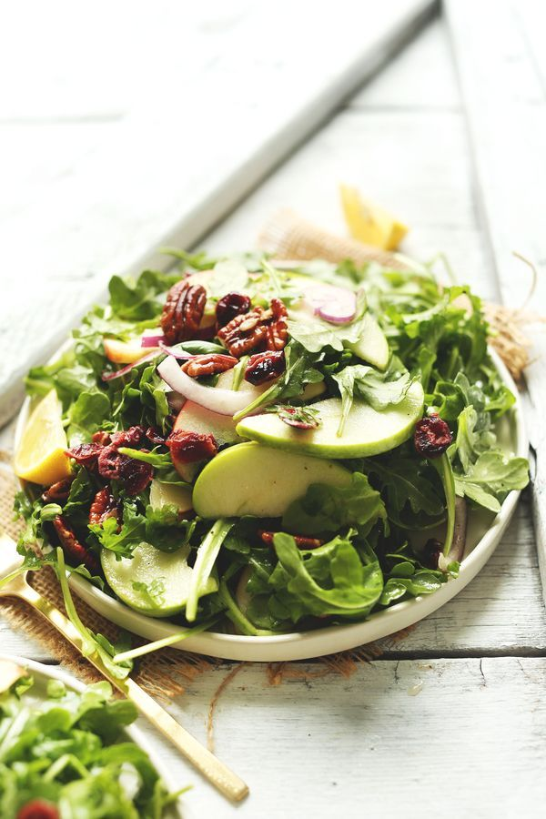 Simple, Delicious and Easy Apple Arugula Salad with Pecans and Lemon Vinaigrette.  #salad #recipe #vegan #healthy