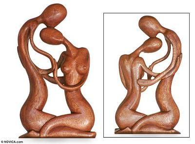 Wood sculpture, 'Sweethearts' - Hand Carved Romantic Wood Sculpture (image 2)