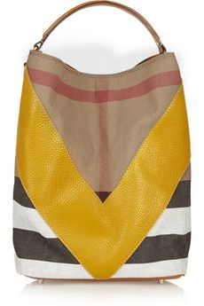 Burberry Shoes & Accessories Checked textured-leather and canvas tote | NET-A-PORTER