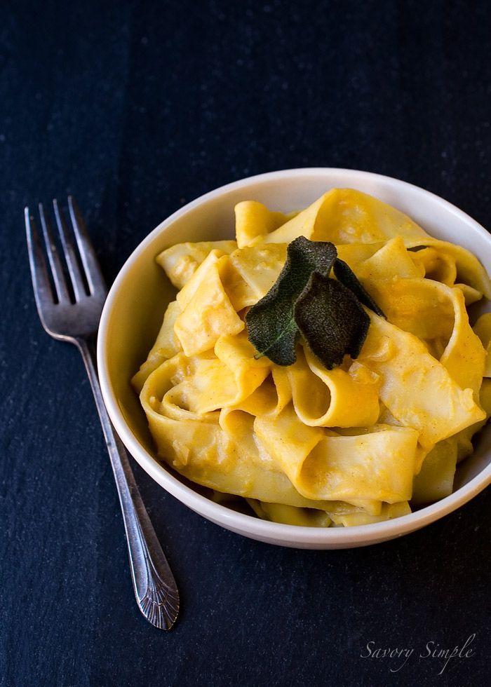 Pumpkin Pecorino Pasta with Fried Sage