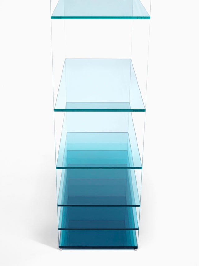 Deep Sea, shelf, Nendo for GlasItalia, 2013, known fortheir superb technical manipulation of colour, cut and adhesion of sheet glass, demonstrates how the affect can be achieved by melting a layer of transparent coloured film onto the surface – delivering a gradient of blues.