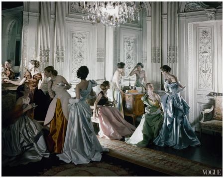iconic image of Charles James ball gowns, photographed in the salon of French & Co., New York Photographed by Cecil Beaton 1948