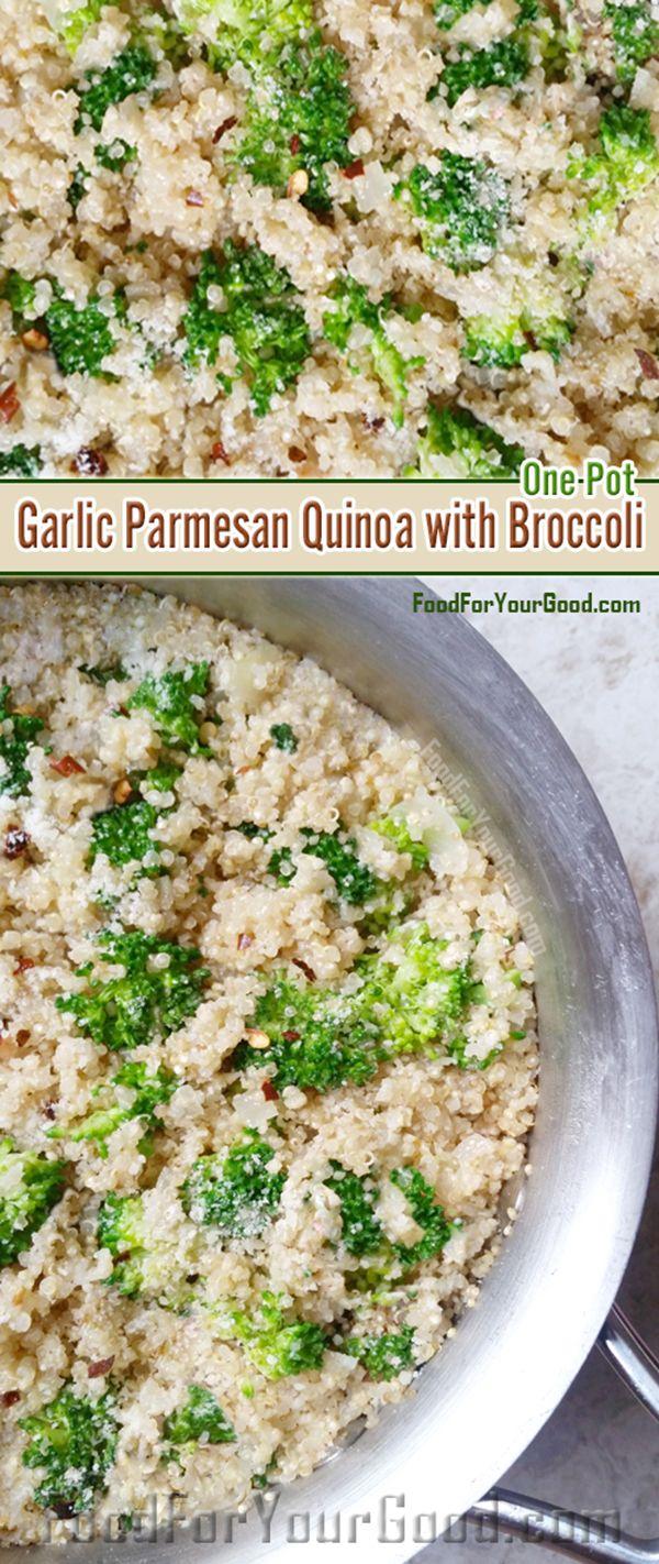 Delicious One Pot Garlic Parmesan Quinoa with Broccoli | FoodForYourGood.com #one_pot_garlic_parmesan_quinoa_with_broccoli