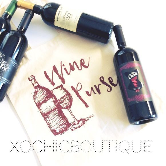 🔥SALE  Wine purse canvas tote! Wine purse tote canvas bag!  Easily fit 4 bottles of wine! See picture 2 😉 Self fabric handles.  Size:14 1/2 X 15 1/2 100% cotton canvas 6 oz.  ⭐️FREE WITH PURCHASE OF $60 or more!⭐️ or $19 each! New retail without tags. Salt Lake Clothing Bags Totes #winepurse