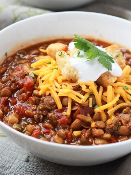 This vegetarian lentil chili recipe calls for all the chili ingredients you'd expect, but this time lentils are the star instead of meat.