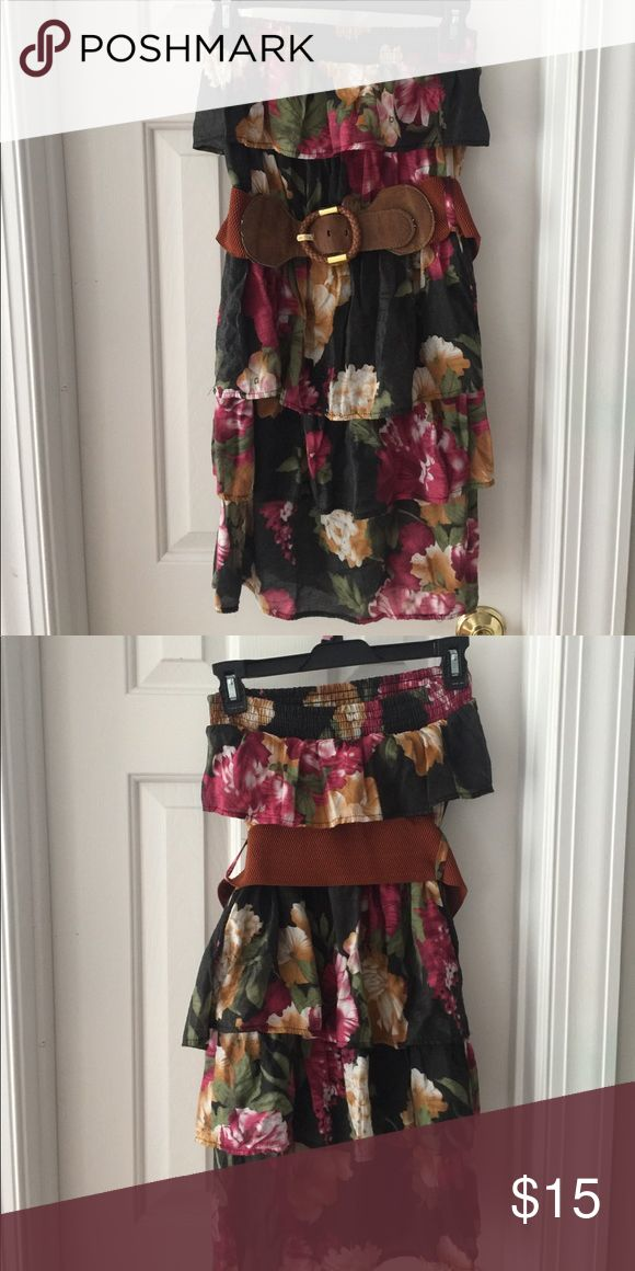 Body Central Black and flowered pattered dress Body Central Dress. Black with Flowers as the Pattered and Belted. Body Central size Medium Body Central Dresses Mini