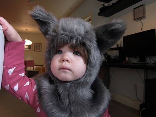 I decided a while back that I wanted to dress Gwen as a wolf for Halloween, so when we went to my mom's at Thanksgiving I asked her to help me make a pattern for a wolf costume like the bear …