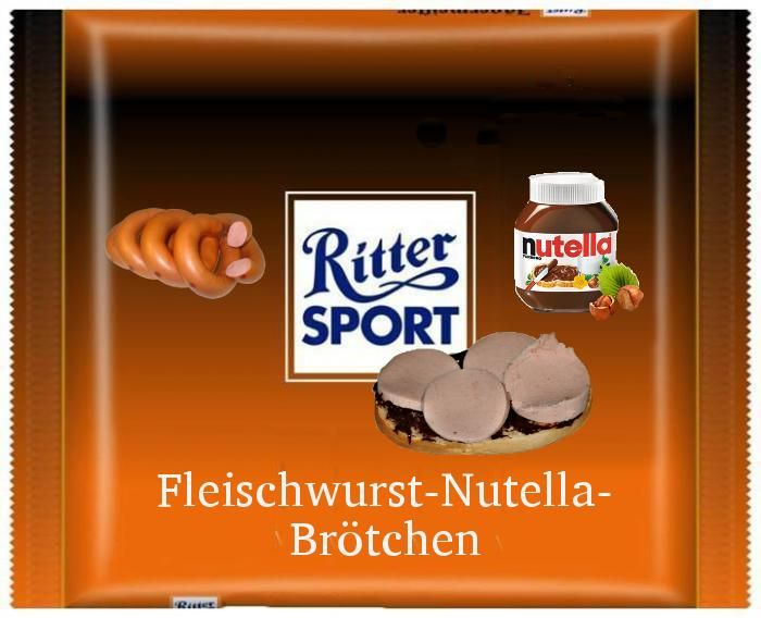 RITTER SPORT Fake Sorte Schokolade: Fleischwurst-Nutella-Brötchen