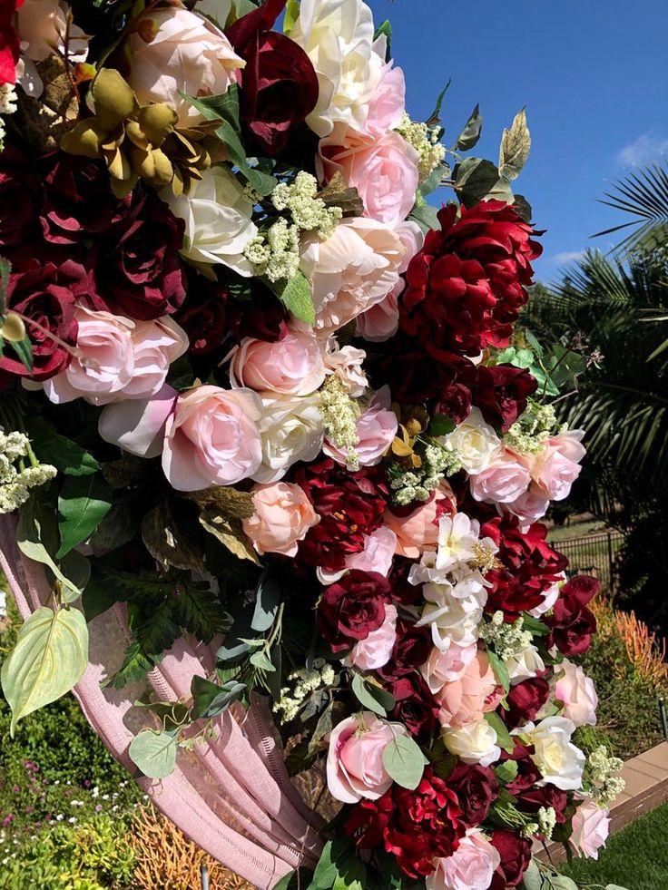 Burgundy Wedding Flowers Circle Wedding Arch Flowers