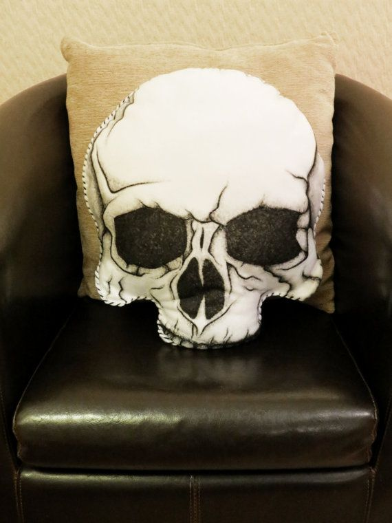 Anatomical Skull - Hand Painted Large Cushion. MEASURES APPROX. 50cm x 42cm.