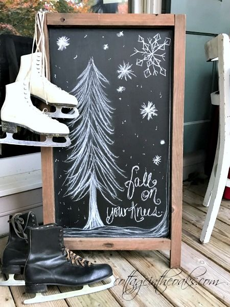 Christmas chalkboard art on front porch