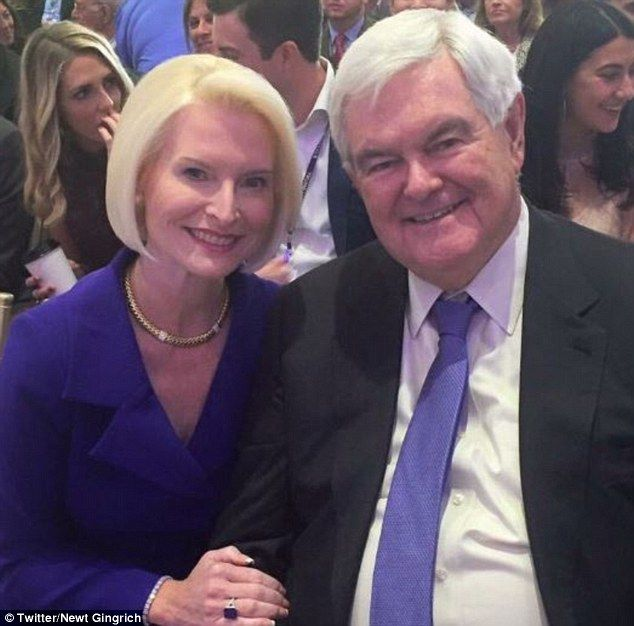 Big occasion: Former Speaker of the House Newt Gingrich posted this photo showing him at the hotel's opening with his wife, Cally Gingrich