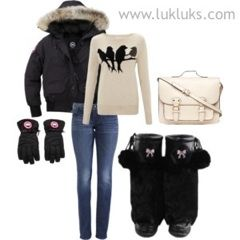 There are many ways to stay warm this winter. We absolutely love this look! #oftd #lukluks #canadagoose #dorothyperkins #truereligions #midnightblack #satchel