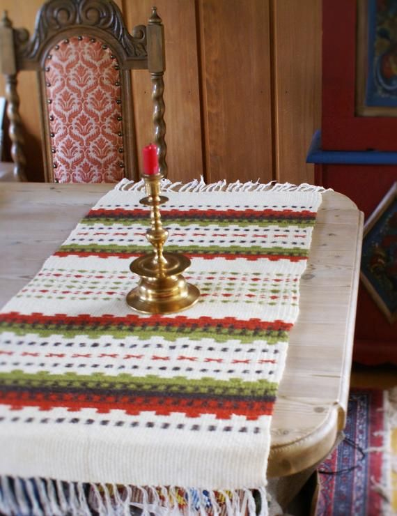 Vintage Norwegian Knit Table Runner Blue Yellow