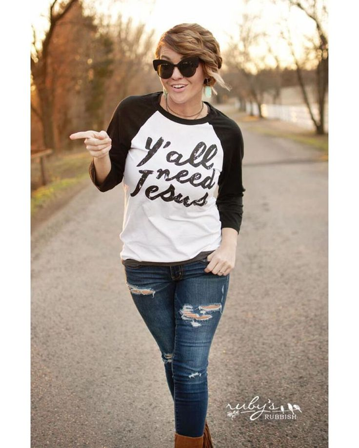 Ruby's Rubbish | Women's Y'all Need Jesus Baseball Tee | Country Outfitter