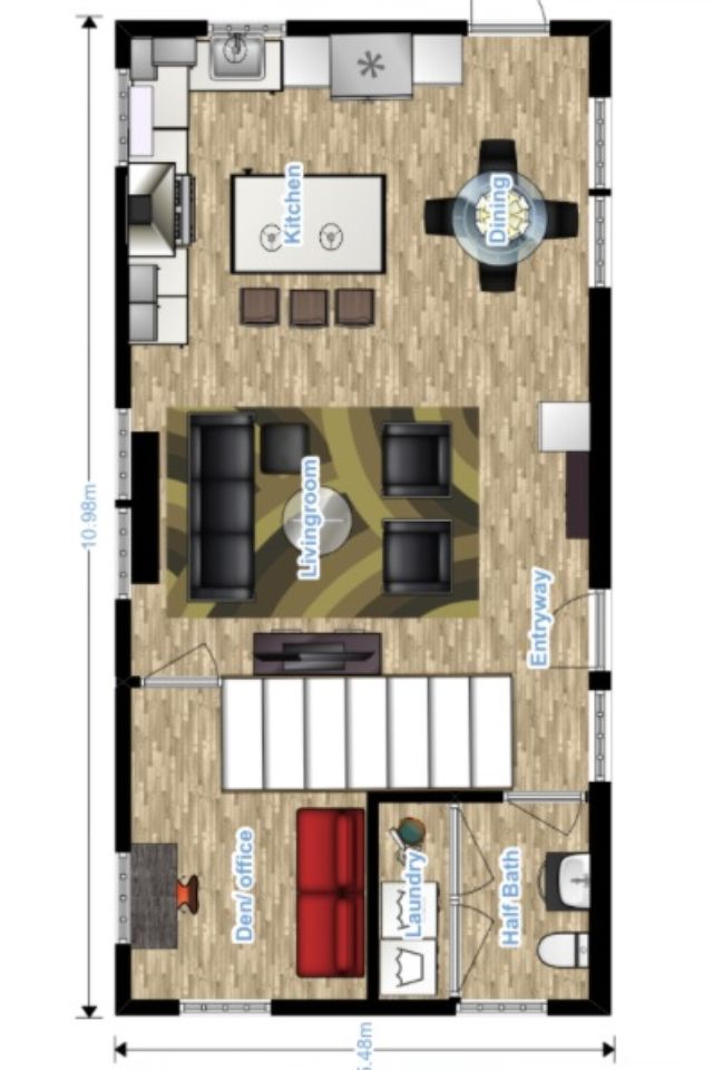 Main level floor plan option for out tiny house. 18x36 feet, meter conversion.