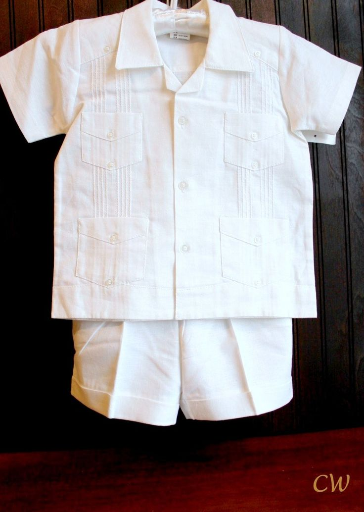 Angel Boys Guayabera White 2 piece set