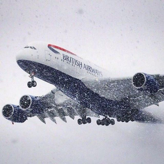 Thanks to James Dingell (http://instagram.com/jdingell) for snapping this photo of a snowy #A380 descent at #Washington Dulles Airport