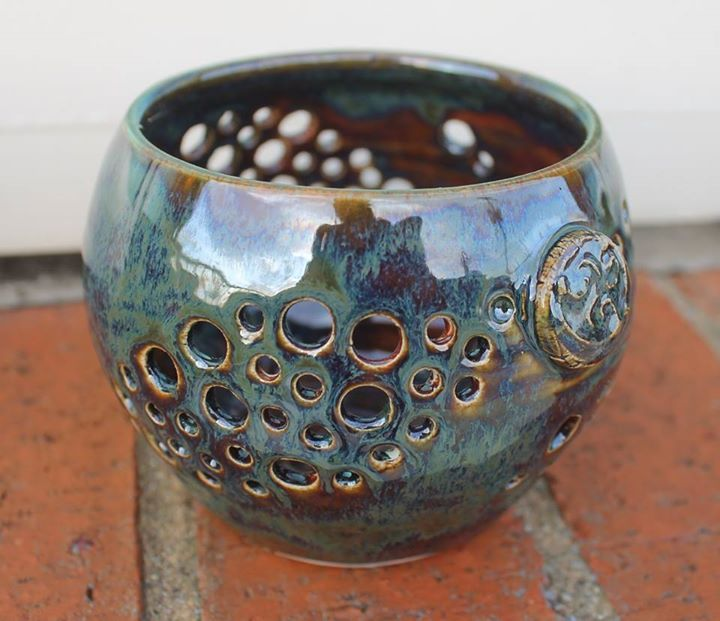 Monique Wright Palladium over Chun Plum (Amaco glazes)