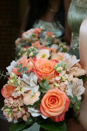 Peach and orange wedding bouquet - Peach hydrangea, peach roses, eucalyptus, white alstro, peach matsumoto asters