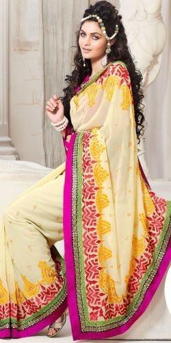 Cream Chiffon Saree