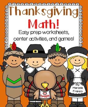 Thanksgiving Math for First Grade- Easy Prep Worksheets, Center ...