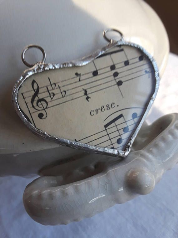 Music heart glass soldered locket french letter boho vintage