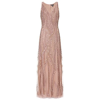 1920s gown for sale UK: Aidan Mattox Sleeveless Beaded Gown, Rose Gold £560.00