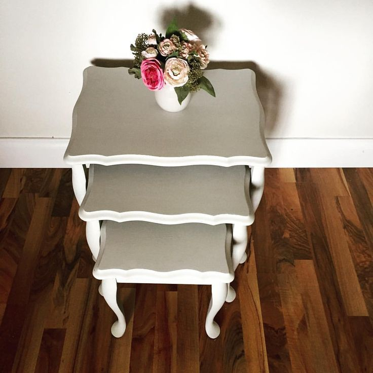 Cute set of nesting tables hand painted in gorgeous custom grey.
