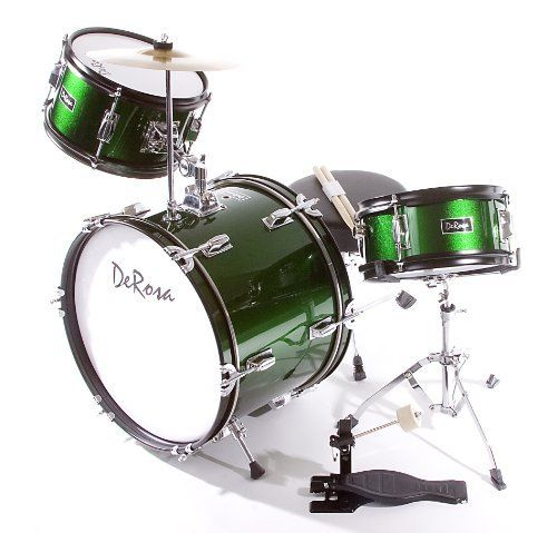 De Rosa DRM316-GR Junior 3 Piece 16 Inch  Drum Set with Chair, Green by De Rosa. $132.53. De Rosa Junior Drum Set is the ultimate drum kit for any young aspiring drummer. This set comes with everything your drummer will need to start playing.  Built using real drum specifications the De Rosa Junior drum set is made using Birch and features authentic metal hardware. The materials used in these sets are equivalent to materials used in higher priced adult Drum Sets sets...