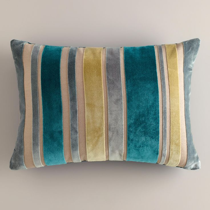 I used the colors in this pillow as inspiration for my Living Room Makeover! (Green and Gray Stripe Velvet Lumbar Pillow) Spruce up Your Space with a 5K #WorldMarketMakeover www.worldmarket.com/sweepstakes