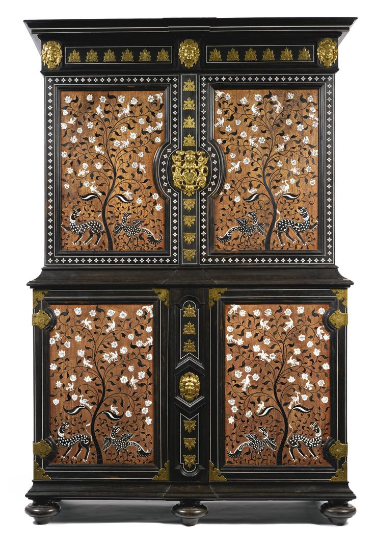AN ANGLO-INDIAN GILT-METAL-MOUNTED INLAID IVORY, PADOUK AND EBONY CABINET LATE 19TH CENTURY; THE IVORY-INLAID PANELS, VIZAGAPATAM, 18TH CENTURY