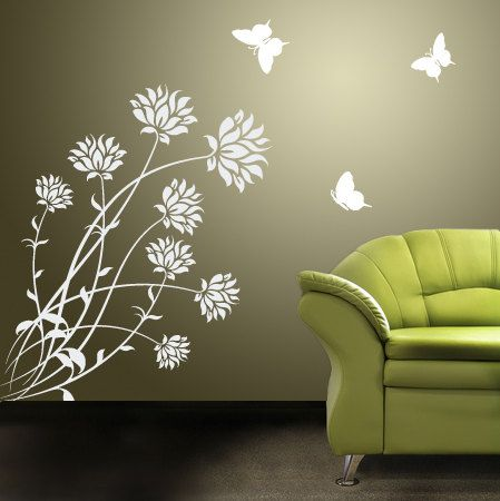 Floral Wall Decal With Butterflies