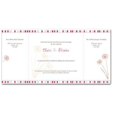 """Faire-part de mariage. Thème """"fleur de carotte"""" et """"Avis de bonheur intense"""". Format carré avec 2 plis. Faire-part ouvert."""