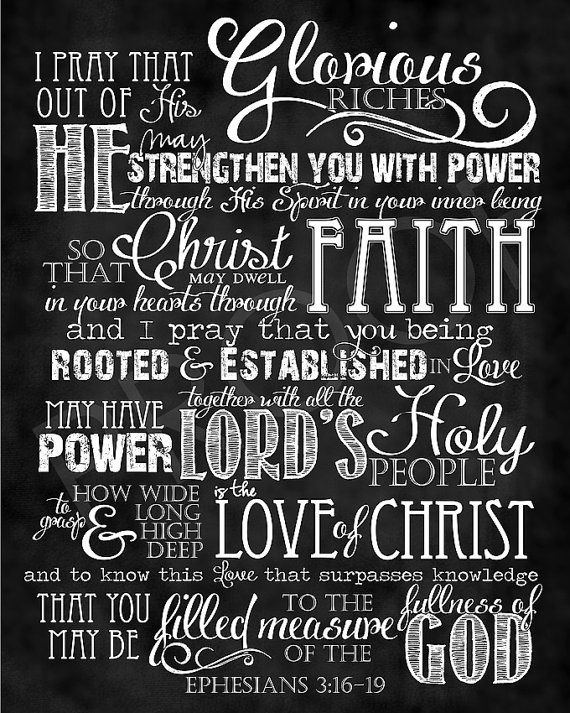 Scripture Art  Ephesians 31619 Chalkboard by ToSuchAsTheseDesigns, $15.00